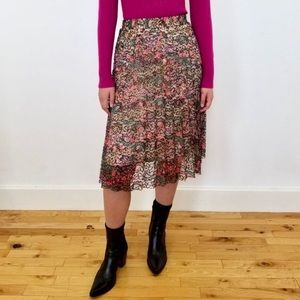 Vintage Floral Lace Pleated Skirt